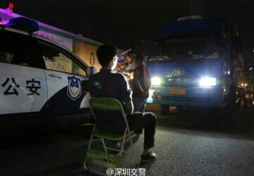 Shenzen police discipline unruly drivers with unusual full beam headlight punishment
