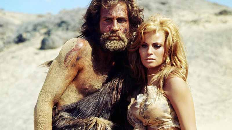 Raquel Welch and John Richardson co-starred in the 1966 film One Million Years BC. A commercial success, Don Chaffey's film highlighted the development of the two-piece bikini by early humans. (Photo: Youtube)