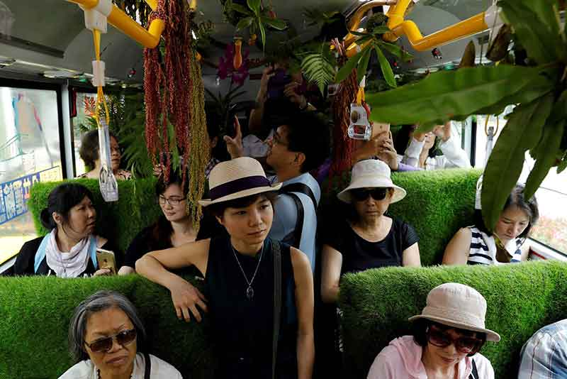 Florist Alfie Lin has created the beautiful and calming Taipei Forest Bus. (Photo: CGTN)