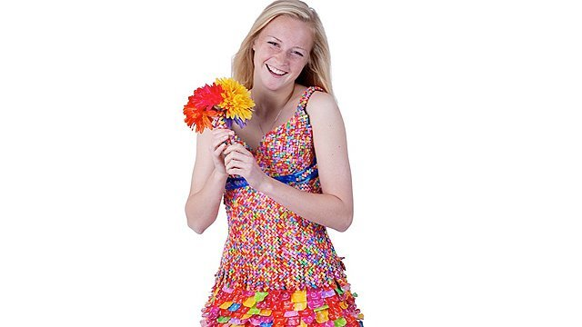 First! Trailblazer Tara Frey with the original incarnation of the Starburst dress (ABC News)