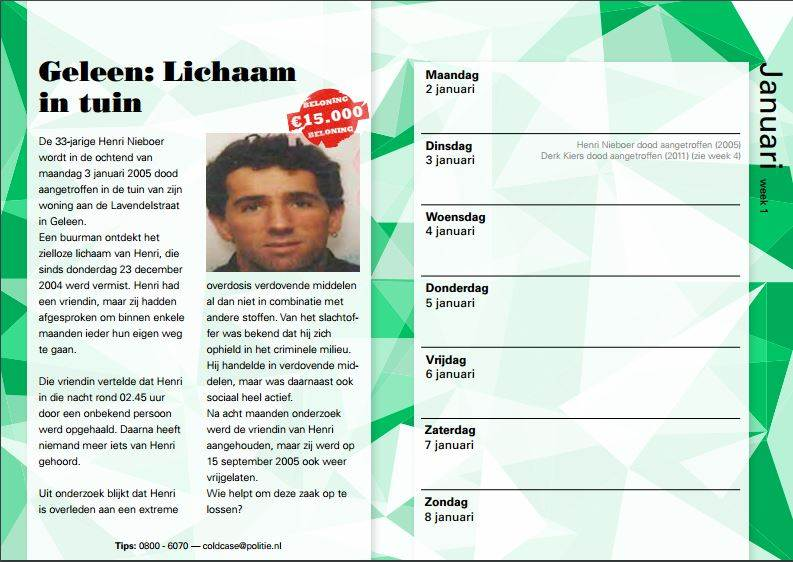 Dutch prisoners are being given the chance to help with unsolved crimes as police issue cold-case calendars featuring unsolved murders or disappearances. (Photo: Politie.nl)