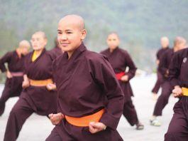 The fighting Kung Fu nuns of the Drupka Order. The Kung Fu nuns teach self-defense and help the needy throughout the Himalayas. (Photo: Wkimedia/Drukpa Publications Pvt. Ltd)