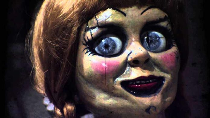 The Annabelle doll. We're led to believe she does her own make-up. (Photo: Youtube)