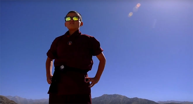 Calm, confident and assured, Jigme Wangchuk Lhamo is a Drupka kung fu nun. If there was ever such a thing as 'kung fu nun chic' then Jigme owns it! (Photo: Youtube/News Deeply)