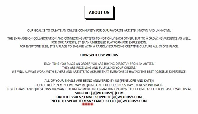 On the About Us page of the Witchsy website you can get in touch with Keith if you need to speak to a man. (Photo: Witchsy)