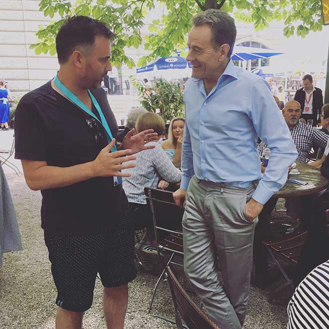David and Bryan Cranston catching up at the Much Film Festival. Nordic Noir drama Bakerman is Bourke's third feature film.