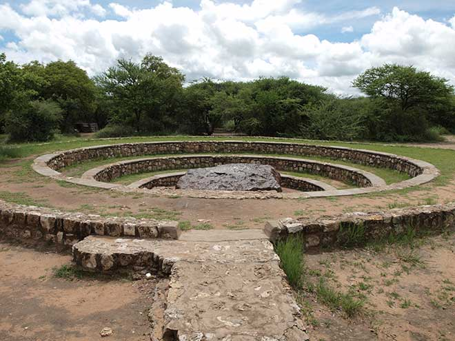 Upon discovery the Hoba meteorite was estimated to have a mass of 66 tonnes. It is now thought to be just over 60 tonnes due to vandalism, exposure to the elements and scientific testing. (Photo: Wikimedia/Digr)
