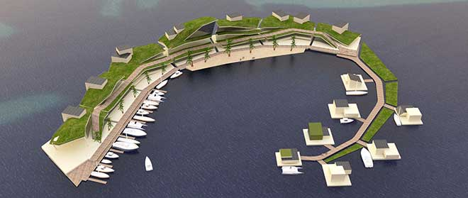 The Floating Island Project could wipe out the threat of rising sea levels and tackle a looming climate refugee crisis. (Source: Blue Frontiers)