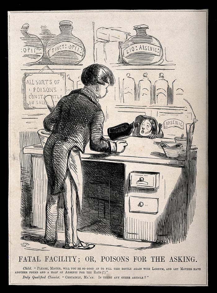 An unscrupulous chemist selling a child arsenic and laudanum. Wood engraving after J. Leech. (Source: Science Museum, London)