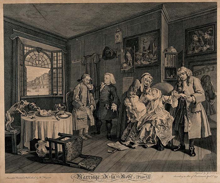 The countess, having taken a dose of laudanum nears death, and is kissed by her sickly child held towards her by an elderly maid; her father slips her ring from her finger. Engraving by Louis Gérard Scotin after William Hogarth, 1745. (Source: Science Museum, London)