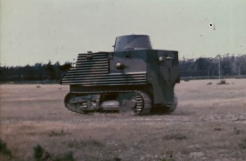 The Bob Semple Tank used corrugated iron instead of armour plating. Fortified by 6 bren guns it housed a crew of 8. Only 3 were ever built for a total cost of £10,225. (Photo: YouTube/New Zealand Archives)