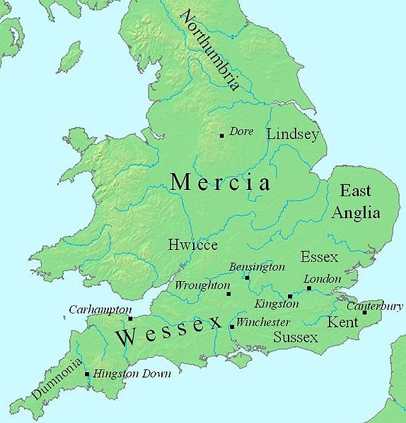 There was no 'England' at the time. Angles and Saxons had displaced Celts and formed separate kingdoms, which would slowly consolidate into 'Angle-land' or 'England'. By the Vikings' time, there were four: East Anglia, Northumbria, Mercia and Wessex. (Source: Wikimedia/Mike Christie)