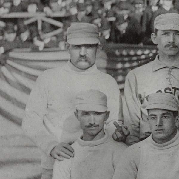 Group picture, Boston Beaneaters and New York Giants, Major League Baseball Opening Day 1886. Charles Radbourn giving the finger to cameraman. (Photo: Wikimedia/F.L. Howe)