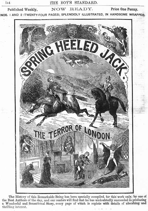 Ad for a Spring Heeled Jack penny dreadful, 1886