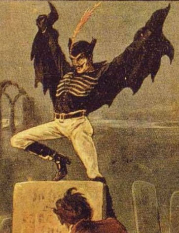 Spring Heeled Jack as depicted by anonymous artist - English penny dreadful (c. 1890)