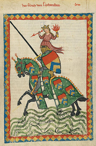 Portrait of Ulrich von Liechtenstein from the Codex Manesse (Image: Wikimedia)