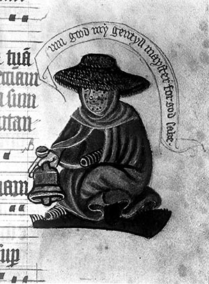 Medieval manuscript showing a leper. (Source: Science Museum, London)