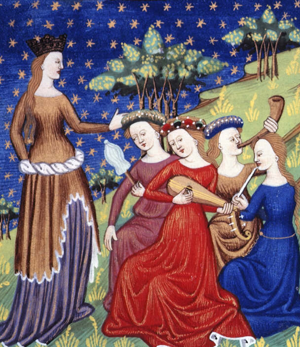 Queen with four attendant maidens playing musical instruments. French translation of De claris mulieribus. (Image: Wikimedia/Giovanni Boccaccio)
