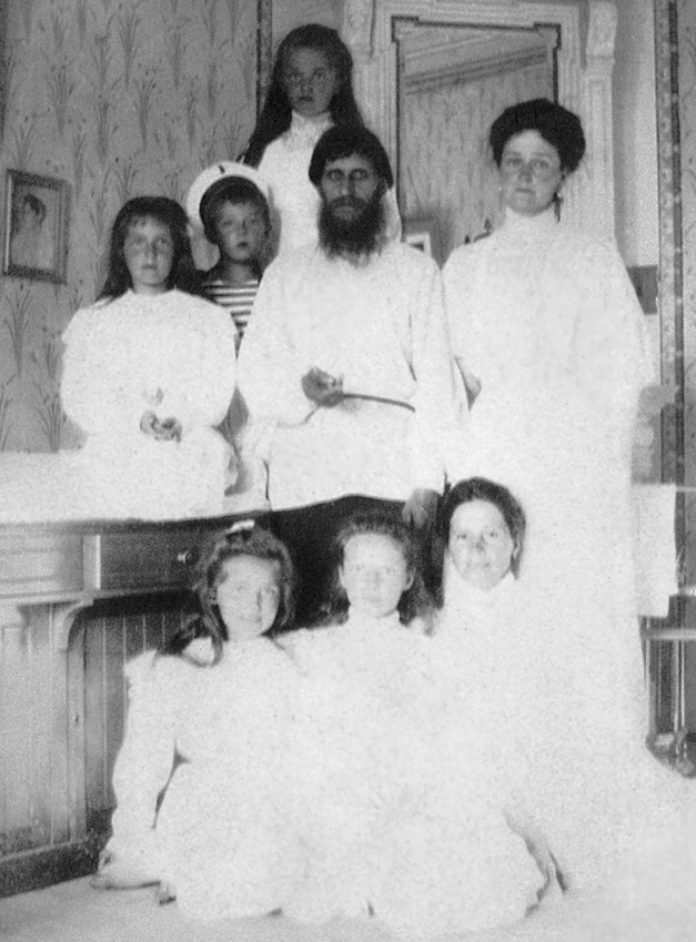 Grigori Rasputin with Empress Alexandra Feodorovna, her nurse and her children Olga, Tatiana, Maria, Anastasia, and Alexei. Alexei was born with hemophilia, a condition inherited from his mother. Alexandra's brother Friedrich and Uncle Leopold  both died of the genetic blood disorder. (Photo: Wikimedia/Unknow source)