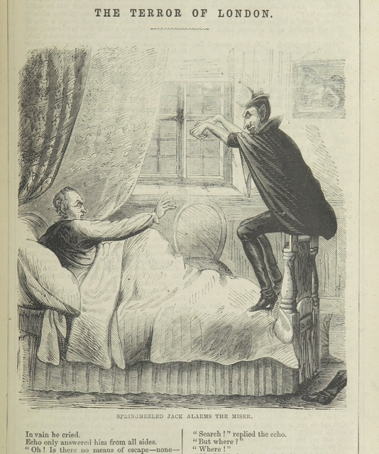 "Springheeled Jack alarms the miser from ""Spring-heel'd Jack: the Terror of London. A romance of the nineteenth century, by the author of the ""Confederate's Daughter"". (Image: Picryl)"