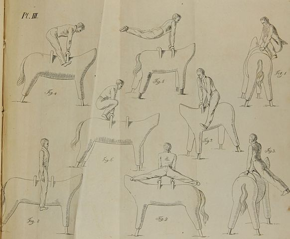 Illustrations of pommel horse exercises in an English translation of Jahn's Treatise on Gymnasticks, 1828. (Image: Wikimedia/Jahn/Butler)