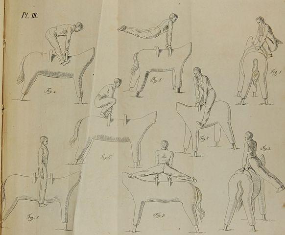 Illustrations of pommel horse exercises in an English translation of Jahn's Treatise on Gymnasticks, 1828. (Image: Wikimedia/Jahn/Butler)
