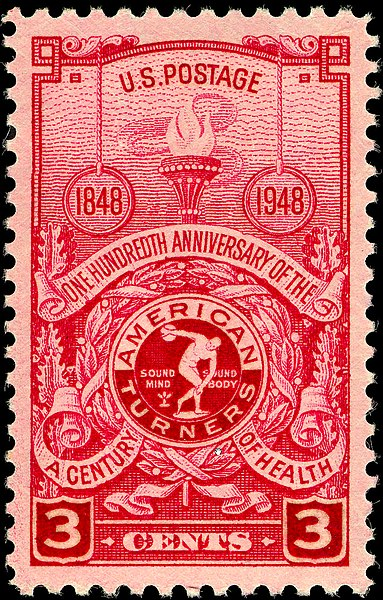 United States postage stamp (Scott 979) commemorating the centenary of the American Turners. (Image: Wikimedia/United States Post Office Department)