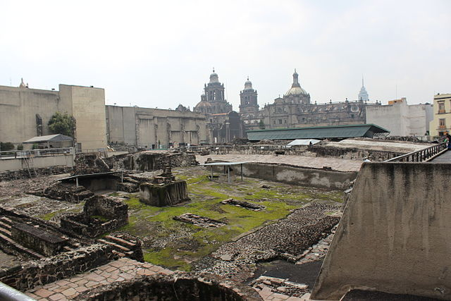 The ruins of Templo Mayor in Mexico City. For the inauguration of the Templo Mayor, over 80 thousand men, women, and children were sacrificed. (Photo: Wikimedia/Ulises Rubin)