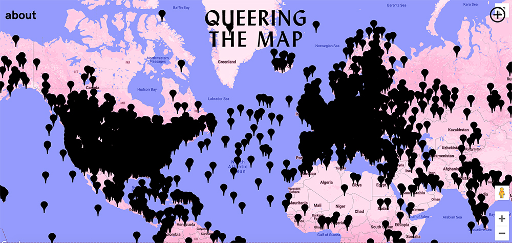 Queering the Map is a community-based online collaborative mapping project created by Montreal-based Lucas LaRochelle. (Image: Queering the Map)