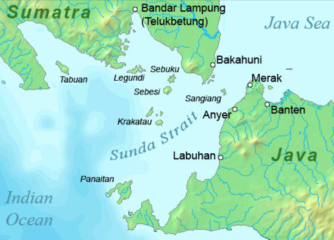 Krakatoa is positioned in the Sunda Strait between Java and Sumatra. (Image: Wikipedia/Telim tor)