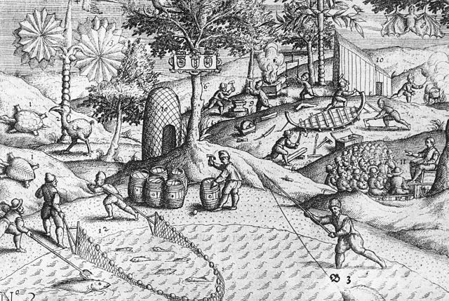 Copper engraving (made in the Netherlands) showing Dutch activities on the shore of Mauritius, as well as the first published depiction of a dodo bird (Raphus cucullatus), on the left. The now extinct tortoise Cylindraspis and an unidentified Pteropus (bat) are shown as well. (Wikipedia/Johann Theodor de Bry)