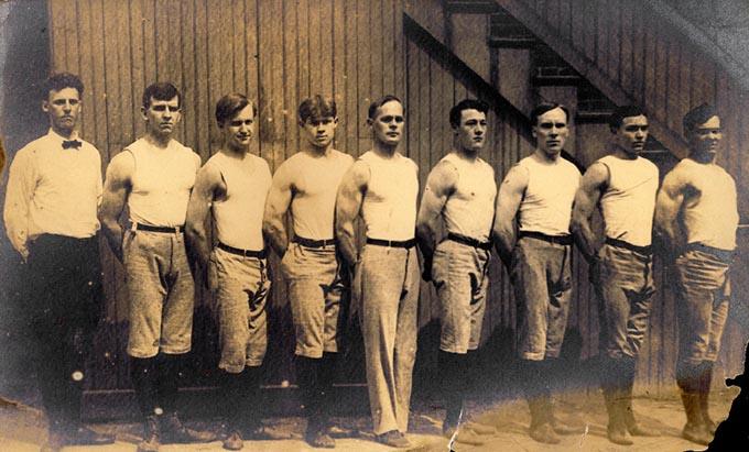 Concordia Turnverein gymnastic team, International Turnfest, Frankfurt, Germany, June 1908. [George Eyser, Center] (Photo: mohistory.org)