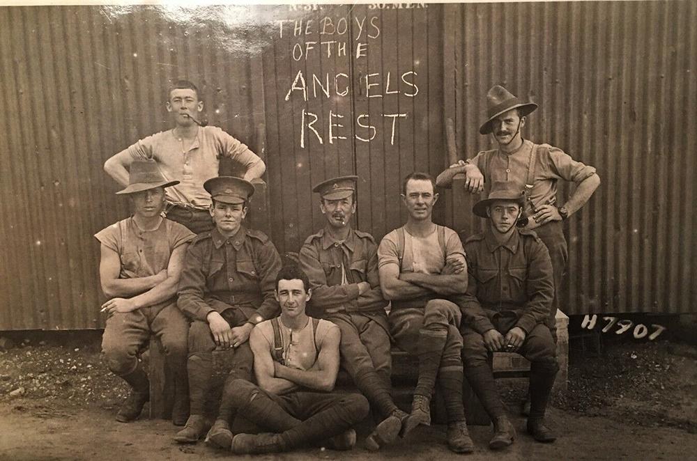 Some larrikin Australian soldiers in camp. A Cornish slang word,