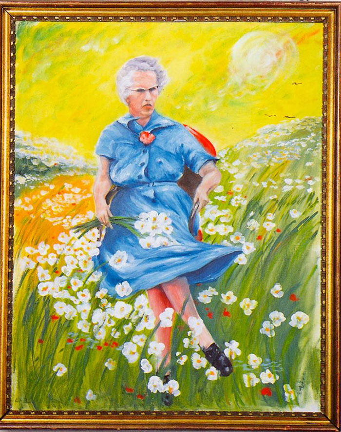 Found in a bin, Lucy in the Field With Flowers shows an elderly lady running through a field. (Source: Museum of Bad Art Facebook page)