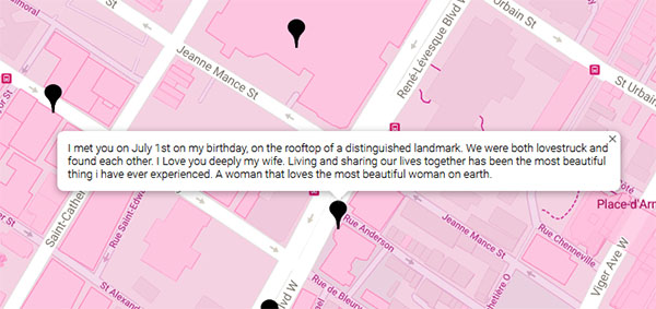 Any user can add a pin to the Queering the Map website and share why a particular place holds significance for them. (Image: Queering the Map)