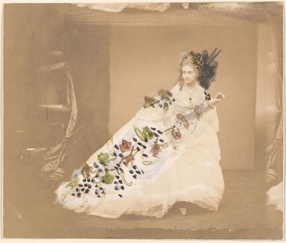 This photograph was retouched by the countess with instructions (on the back) suggesting that the composition was intended to set off her elegant attitude and majestic gown: