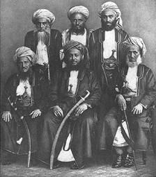 Barghash bin Said Al-Busaid with his ministers. (Image: Wikimedia)
