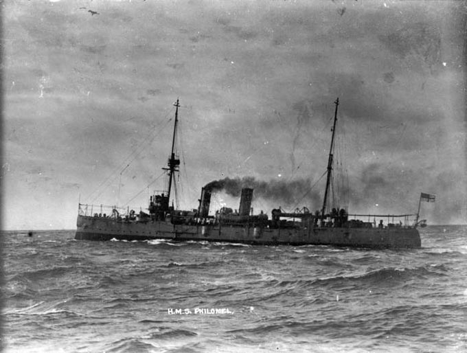 HMS Philomel was a Pearl-class cruiser commissioned in 1890. She was assisted by HMS Rush, HMS Sparrow, HMS St. George and HMS Raccoon during the Zanzibar War. (Photo: Wikimedia/John Dickie)