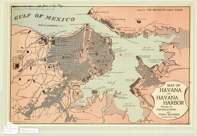 Map of Havana and Havana Harbor, showing the fortifications and public buildings / issued by the Brooklyn Daily Eagle, Sunday, May 22, 1898. (Image: Wikimedia/Brooklyn Daily Eagle)
