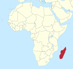Madagascar lies approximately 250 miles (400km) off the East coast of Africa and is the world's second-largest island country. (Image: Wikimedia/TUBS)