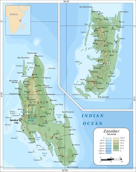 Zanzibar is a self-governing territory of Tanzania. Situated in the Indian Ocean the Zanzibar Archipelago lies 16 miles (25km) from the mainland coast. (Image: Wikimedia/Oona Räisänen)