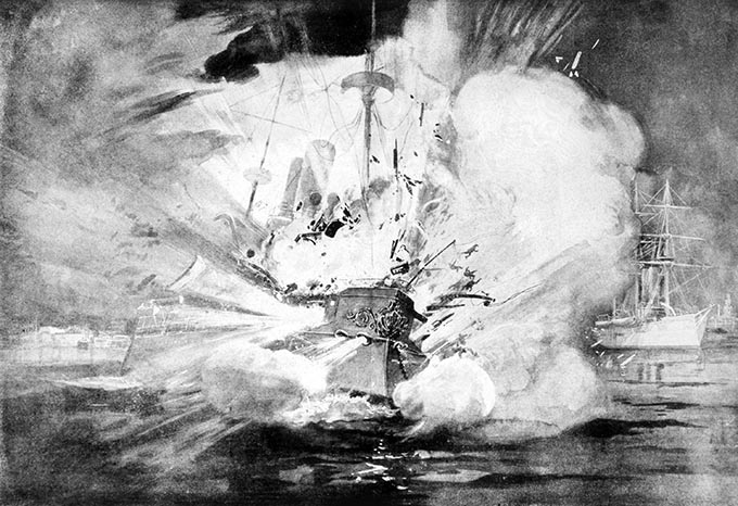 The Spanish American War (April-August 1898), illustration from Leslie's Weekly of the destruction of the USS Maine at Havana, Cuba on Feb, 15, 1898. (Photo: Shutterstock)