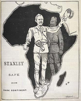 This image appeared in Funny Folks magazine in December 1899. The image is of the Emin Pasha Relief Expedition (1886 -1889); the figure at the front is Henry Stanley and the figure at the back is Emin Pasha. (Image: British Library)