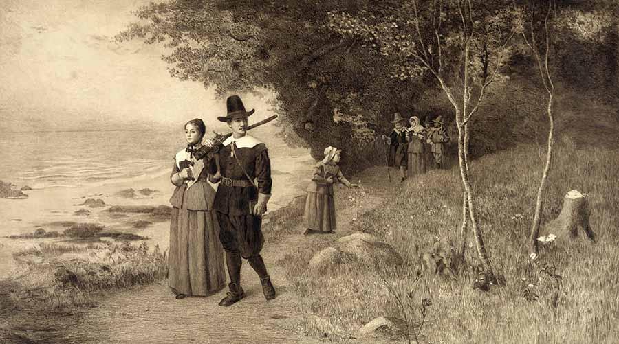 Thanksgiving, Pilgrims holding bibles, ca 1800s. (Image: Shutterstock)