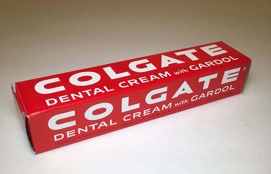 Colgate Dental Cream (Toothpaste) With Gardol - ca. 1950s (Photo: Wikimedia/Thistle33)
