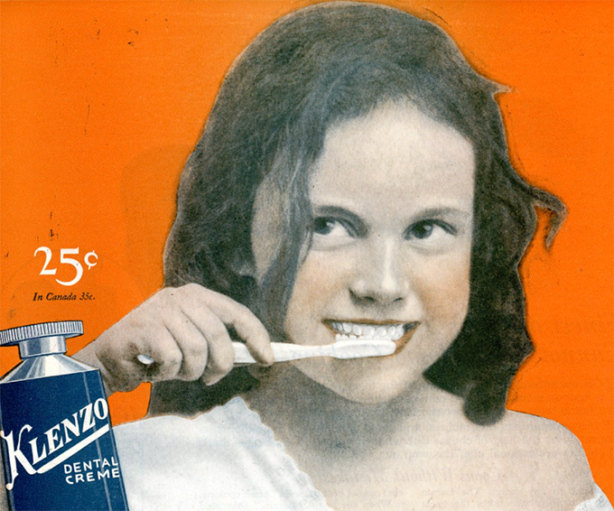 Vintage newspaper advert for Klenzo dental creme toothpaste from October 22, 1921 Saturday Evening Post (Image: Flickr/Don O'Brien)