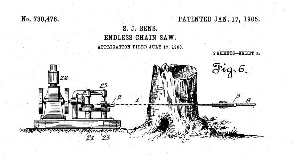 Samuel.J.Bens was granted a patent for a chainsaw in 1905. However, it would prove to be too large and impractical when used. (Image: Google Patents)